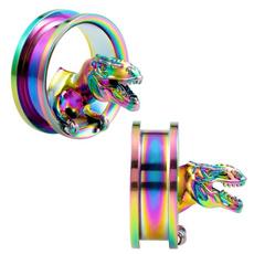 rainbow, Jewelry, eargauge, tyrannosauru
