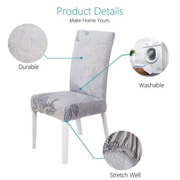 Wish | 1/4/5/6pcs Chair Covers  Removable Elastic Stretch Slipcovers Short Dining Room Chair Seat Cover Décor(Back Height: 45~60cm,Seat Length: 45~55cm,Seat Width: 45~55cm)