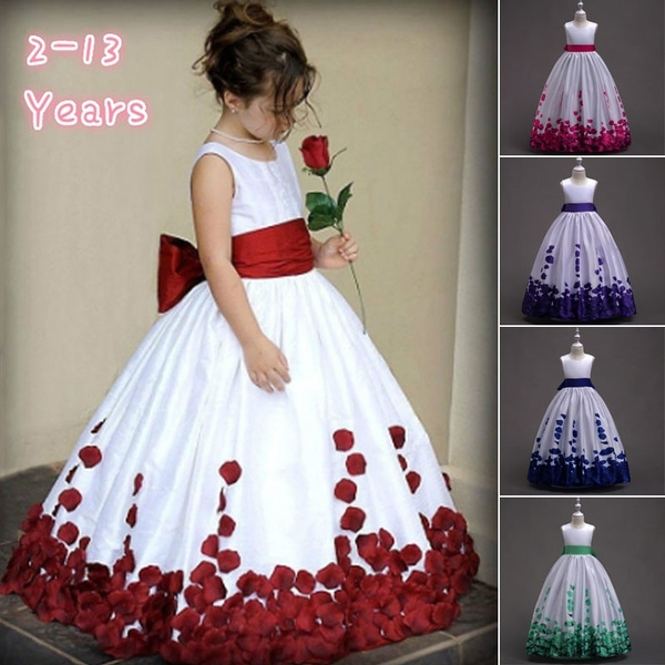 Girls Bridesmaid Dresses Bowknot Flower Kid Party Rose Wedding Princess Dress