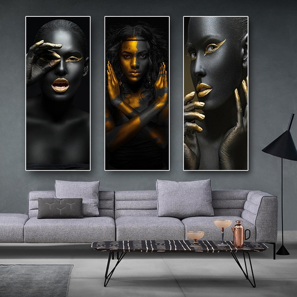 Large 3p Canvas Print Modern Black Gold African Art Woman Oil Painting Home Art Wall Living Room Decor No Frame