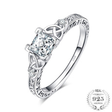 Sterling, Engagement, wedding ring, 925 silver rings