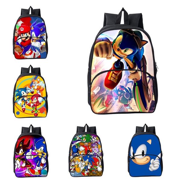 Sonic The Hedgehog Children School Bag Anime Sonic Backpack Christmas Gift Wish