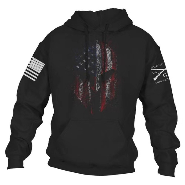 Sand Grunt Style Woodland Camo Flag Pullover Hoodie