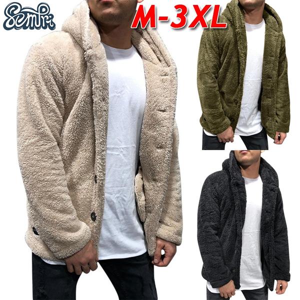 Mens Long Sleeve Casual Button Sweatshirt Winter Warm Fleece Fur Jacket Coat