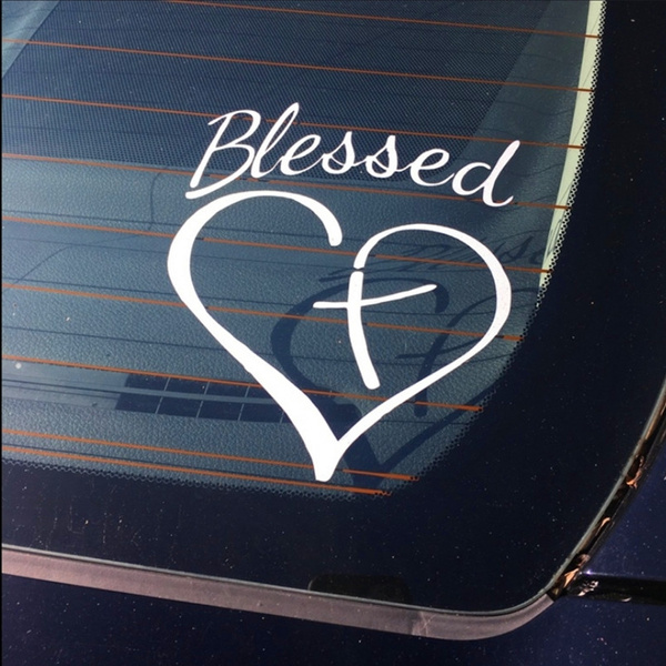 Blessed Cross And Heart Christian Decal Vinyl Sticker Cars Trucks Windows Bumpers Walls Laptops Tablets Motorcycle Sinspirational Car Stickers