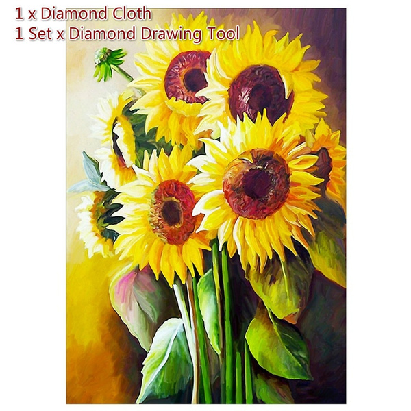 5D DIY Full Drill Diamond Painting Flowers Cross Stitch Embroidery Mosaic Kit