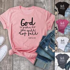 Plus Size, Christian, Shirt, letter print