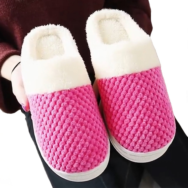 Fznyl Slippers Women Home Cotton Flops Men Winter Indoor Warm Bedroom Shoes For Ladies Non Slip Platform Lovers House Footwear Wish