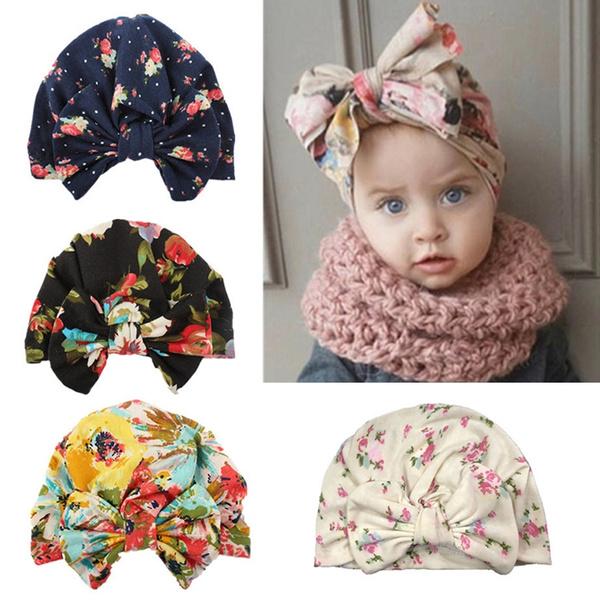 Baby Cute Flower Pattern Beanie Kids Girls Bowknot Turban Knot Cotton Warm Hat