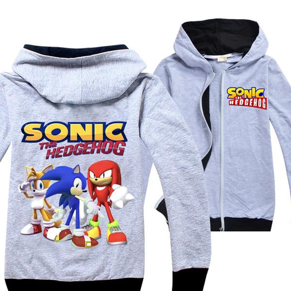 Sonic The Hedgehog Cartoon Printed Cool Zipper Hoodies Coat For Children Boys Girls 6 14 Years Old Wish