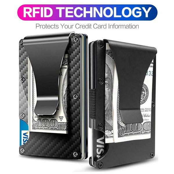 Metal Carbon Fiber Credit Card Holder RFID Blocking Wallet Money Clip Purse lot