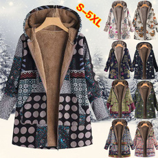 Fleece, hooded, Floral print, Winter
