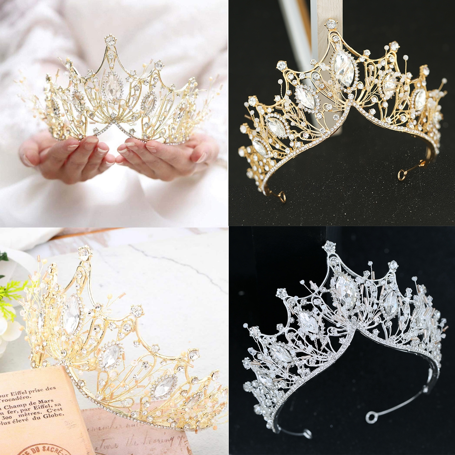 Women Gold Flower Crystals Pearl Coins Head Band Hairband Tiaras Crown Party