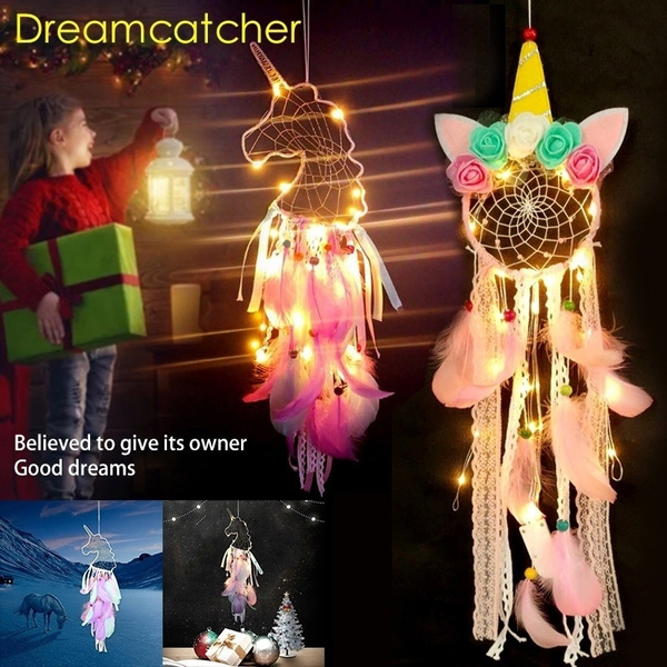 Handmade Feather Beads Dream Catcher LED Lights Wall Hanging Ornament Decor Well