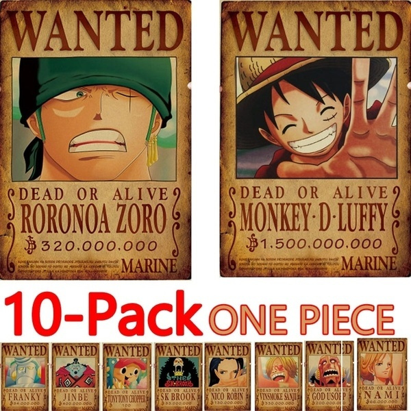2019 New Anime Posters 10pcs One Piece Luffy Wanted Poster Zoro Nami Franky Usopp Sanji Chopper Robin Brook Jinbe Paper Wall Decor 51 5x36cm