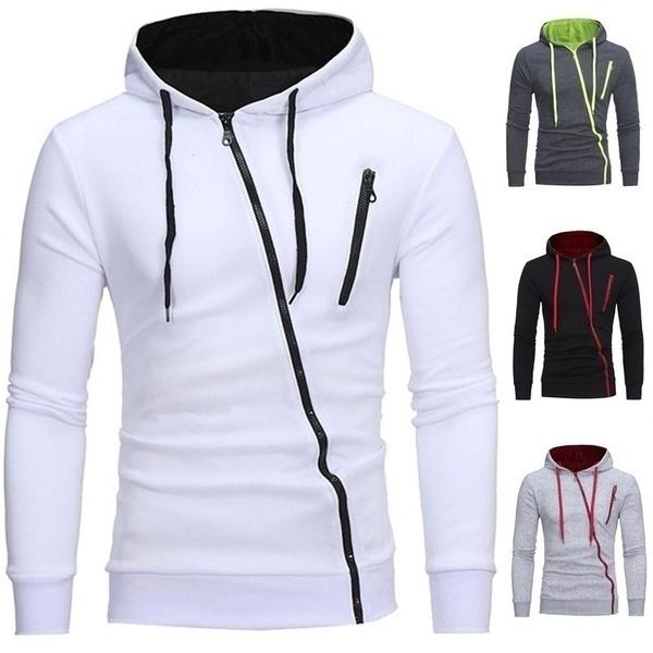 Jacket, Sport, Long Sleeve, Zipper Mens Hoodies