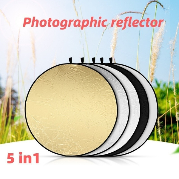 60cm 2 in 1 Light Reflector Portable Foldable Collapsible Disc Photography Reflector Gold /& Silver for Portrait Photography