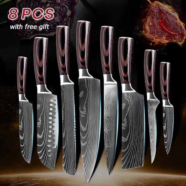 8PCS/set Damascus Kitchen Knife Kitchen Knife Set Utility Knife Japanese  Kitchen Knives Laser Damascus Pattern Chef Knife Sharp Santoku Knife Set ...