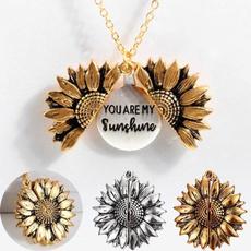 Jewelry, Sunflowers, locketnecklace, sunflowernecklace