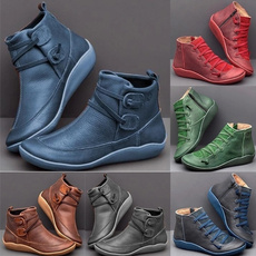 ankle boots, Plus Size, Leather Boots, Зима