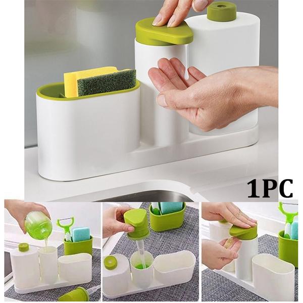 Multifunction Kitchen Storage Racks Bathroom Liquid Soap Dispenser Sponge  Holder container Toothbrush Organizer Kitchen Gadget