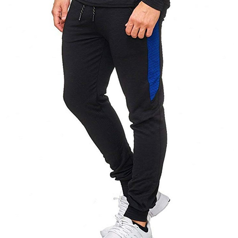 Men's Fashion Casual Striped Stitching Pants Sports Trousers