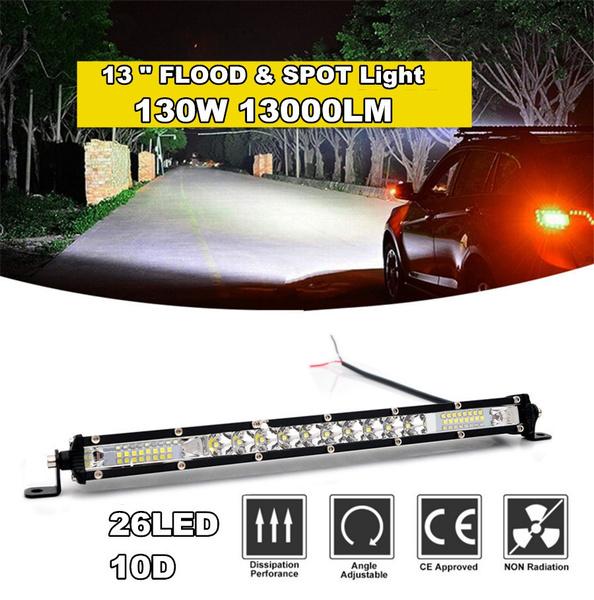 "13/"" 10D 130W 26LED 1-Row Slim Autos Work Light Spot Flood Combo Lamp Waterproof"