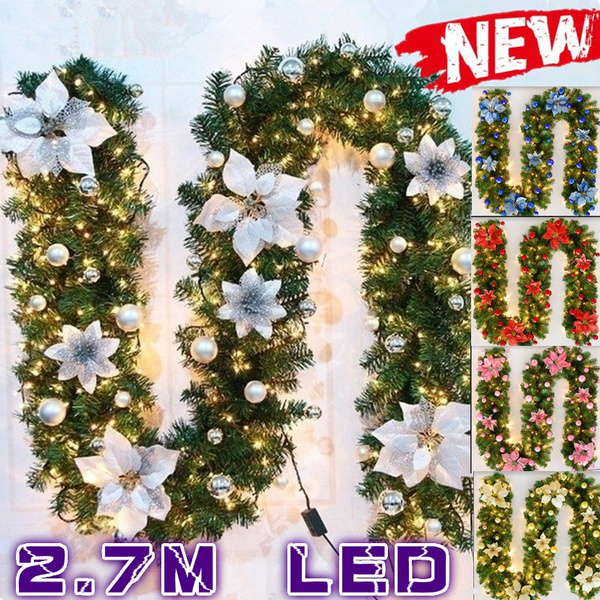 Decorate Your Christmas Garden 2 7m Led Light Up Tree Decorations Garland Decoration Rattan With Lights Wreath Decorated Mantel