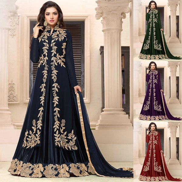 India Style 2019 New Womens Semi Stitched Stylish Indo Western Dress for  Wedding Embroidery Salwar Suits Long Ladies Party Dress Plus Size