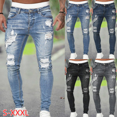 men's jeans, Moda, pencil, rippedjean