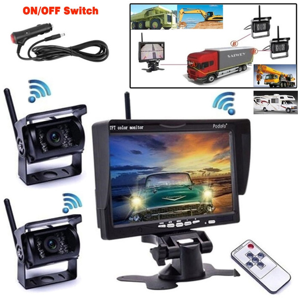 Car Wireless Backup Camera 7 HD Monitor Vehicle Rear View Monitor Waterproof Back Up Camera Night Vision Parking System for Motorhome Bus Camper Truck RV Trailer