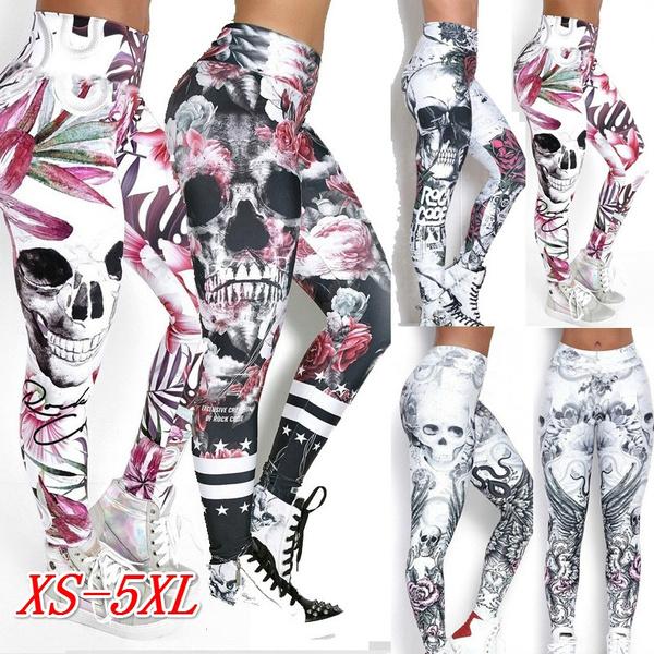 Fantastic, fitness leggings, skinny pants, skullprint