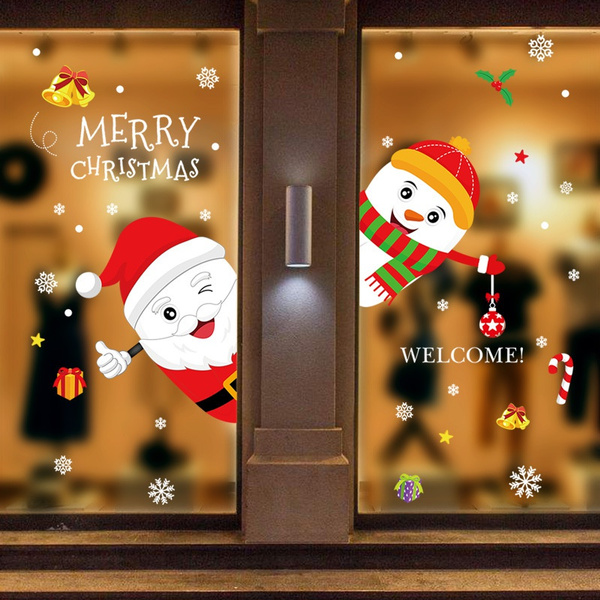 2020 New Cute Elk Christmas Wall Stickers Window Gl Festival Decals Train Garland Waterproof Murals Year Home Party