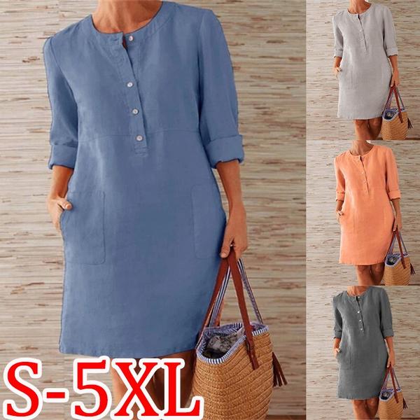 Plus Size, sleeve dress, Sleeve, Round Collar