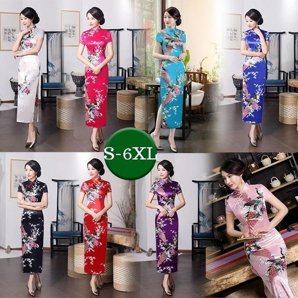 National Chinese Dress Women\'s Bandage Mini Dress Evening Party Dresses  Dragon & Phoenix Cheongsam Qipao Plus Big Size S-6XL