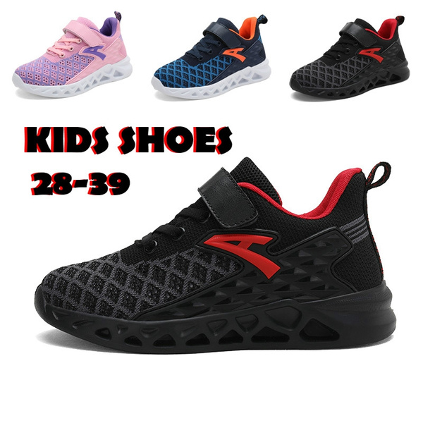 Kids Breathable Knit Sneakers Lightweight Mesh Athletic Running Shoes for Girls