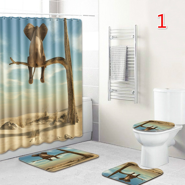 Wish   4Pcs/Set  Elephant Shower Curtains Bathroom Mat Non Slip Pedestal Rug + Lid Toilet Cover + Bath Mat 6 Style