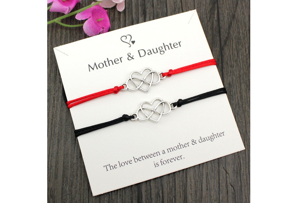 Jeka Mother Daughter Bracelets Infinity Heart Matching Wish Bracelet Mom and Me Jewelry Sweet Gifts for Mom Daughter