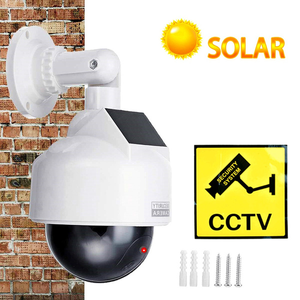Fake Dummy Dome Home Security Solar Camera Surveillance Simulation LED Light ON