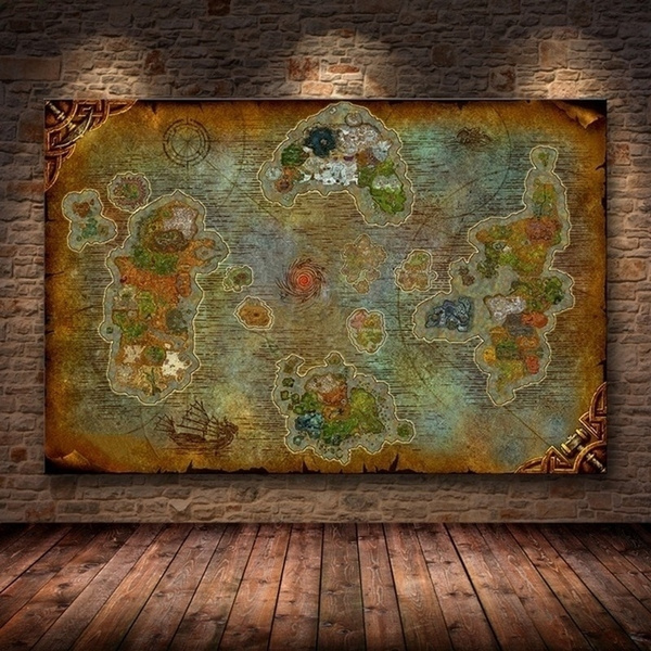 1 Piece Video Game World Of Warcraft 8 0 Map Poster Vintage Canvas