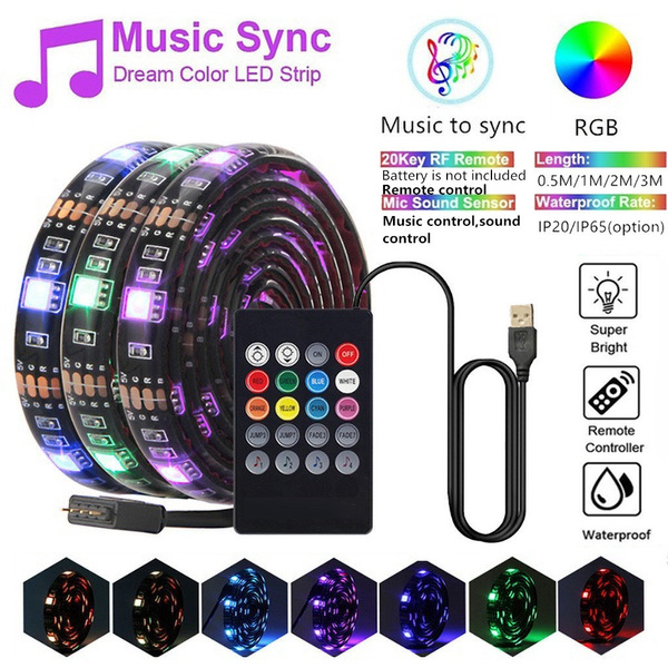 Led Strip Lights Sync To Music Usb Flexible Rgb Led Strip Lights Music Remote Control Light Tv Background Home Decor