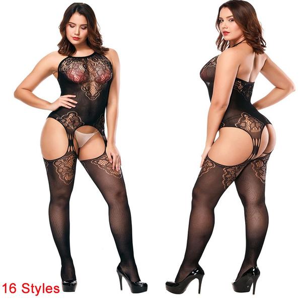 Plus Size, Fish Net, Body Suit, Fashion