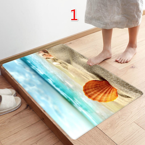 Wish   40X60CM Fashion Beach Pattern Kitchen Doormats Non-slip Absorent Water Floor Mats Bathroom Area Rug Carpet Anti Skidding Pads Mat