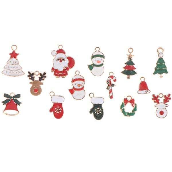 10pcs//set Enamel Christmas Santa Claus Alloy Charms Pendant Jewelry Accessor BR