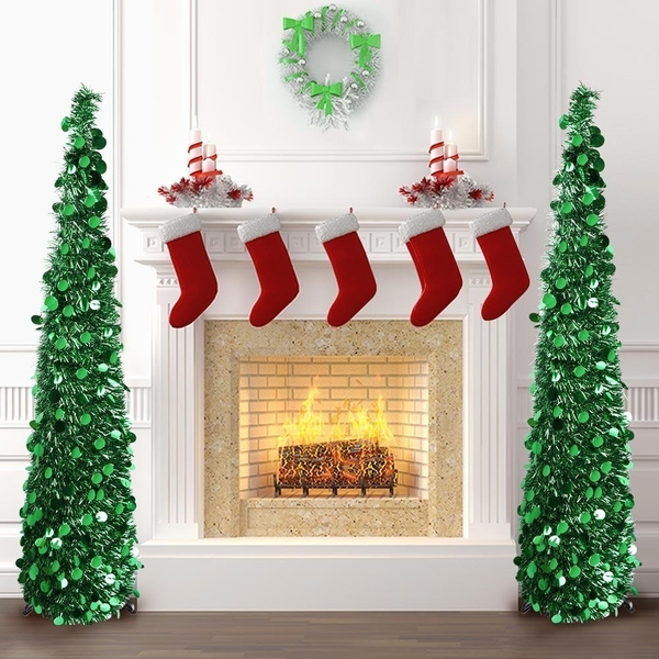OurWarm 1.5M Collapsible Artificial Christmas Tree Tinsel Sequins Pop up Tree