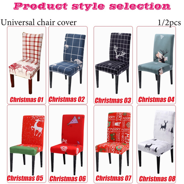 Wish | Christmas Elk, moose print Spandex Elastic Restaurant Chair Cover Elastic Restaurant Chair Cover Home Living Dining Chair Set universal all-inclusive chair cover European and American chair cover