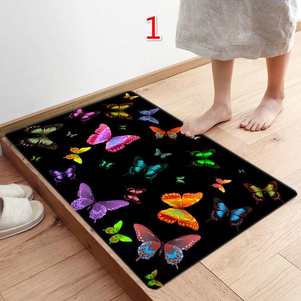 Wish   40X60CM Fashion Butterfly Pattern Kitchen Doormats Non-slip Absorent Water Floor Mats Bathroom Area Rug Carpet Anti Skidding Pads Mat