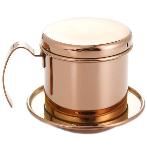 Stainless Steel Vietnamese Coffee Filter Single Cup Vietnam Hand Punch Pot Drip Filter Coffee Pot Vietnamese Coffee Pot Drip Filter Cup Family Outdoor Use Rose Gold Wish