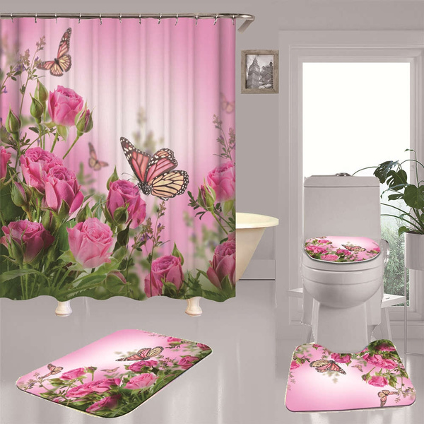 Non-Slip Pink Bath Rugs Rose Floral Bathroom Toilet Shower Mats Set Of 3pcs X