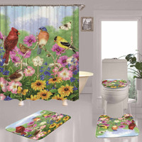 Sea island Palm Tree Shower Curtain Bath Mat Toilet Cover Rug Bathroom Decor Set